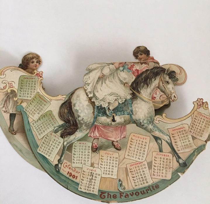THE FAVOURITE CALENDAR FOR 1901 children on rocking horse