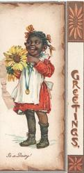 I'S A DAISY young black girl stands holding exaggerated yellow daisy, GREETINGS to right vertically