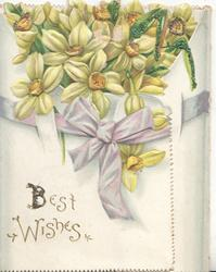 BEST WISHES in gilt below, glittered narcissi above lilac ribbon on wide left & narrow right flaps & back