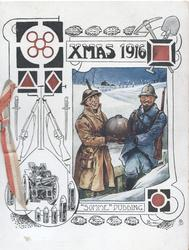 "XMAS 1916 ""SOMME PUDDING"" soldiers in snowy trench covered pudding between them, guns left"