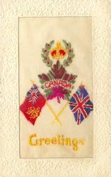 CANADA  GREETINGS  Crown and Maple Leaf, Union Jack, Canadian Flag
