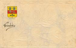 QUEBEC, FRIENDSHIP coat of arms upper left, cream floral background