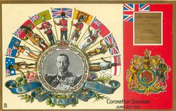 CORONATION SOUVENIR, JUNE 22, 1911  inset of King under arc of nine flagholders GOD SAVE THE KING