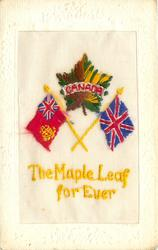 THE MAPLE LEAF FOREVER,  CANADA  embroidered across maple leaf above two flags, oblong frame