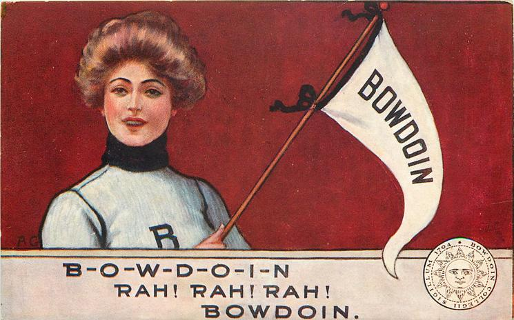 BOWDOIN with girl, flag, crest and cheer