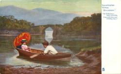 "couple in row boat  ""BY KILLARNEY'S LAKES AND FELLS, EMERALD ISLES AND WINDING BAYS"""