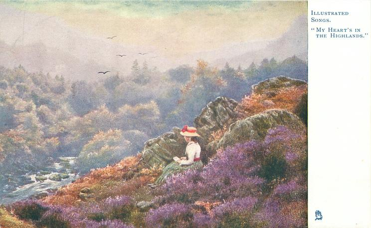 """MY HEART'S IN THE HIGHLANDS""  girl sitting on heather covered slope, rocks behind"