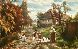 UNGARISCHES LANDLEBEN: SCHNATTERNDE FREUNDE  geese & people in country lane, trees left, boarded fence right, cottages behind