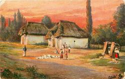 UNGARISCHES LANDLEBEN: SONNENUNTERGANG IN DER PUSSTA  poultry & people central, well right, two cottages behind