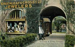 GRENLEAF & CROSBY COMPANY, GEM MERCHANTS, DEALERS IN FINE GOLD JEWELRY, IMPORTERS OF ARTISTIC EUROPEAN MERCHANDISE AND MAKERS OF SILVER SOUVENIRS OF THE SUNNY SOUTH. SHOP, 17 & 19 ALCAZAR COURT: VISITORS CORDIALLY WELCOME