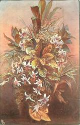 vase of flowers & evergreen, orange bow at base