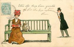 VOUS ETES TROP BIEN GARDEE  young woman & bulldog on seat, young man approaches