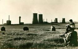 THE WORLD'S FIRST FULL SIZE ATOMIC POWER STATION, IN THE FOREGROUND THE ANCIENT DRUID CIRCLE
