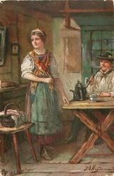 DIE SCHONSTE  woman standing by table with tea-pot on it, man seated smoking long stemmed pipe