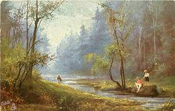 boy & youth on far side of steam, woman on bank to left