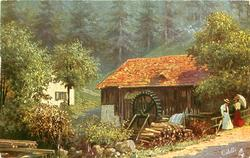 two girls one has parasol, stand at roadside beside sawmill with water-wheel