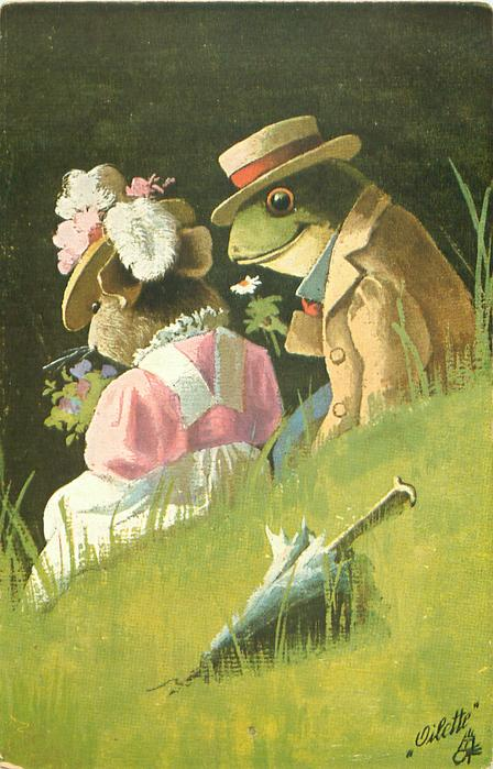 DER ERSTE FLIRT  dressed frog sits to right of dressed mouse, both face away