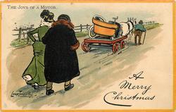 THE JOYS OF A MOTOR  man and woman walk behind car on farm wagon,