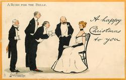 A RUSH FOR THE BELLE  seated girl with four suitors begging a dance,