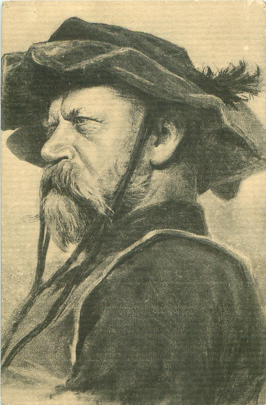 head & shoulders of man facing & looking left, wearing hat secured by strings dangling below chin