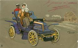 lady sitting in blue car, black footman in back