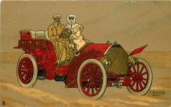man and woman in red car