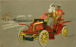 woman driving red car, black footman in back