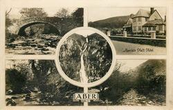 5 insets THE OLD BRIDGE, ABER FALLS HALT HOTEL, ABER FALLS, RUSTIC BRIDGE ON WAY TO FALLS,  THE RIVER