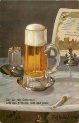 tall glass of light beer, match-holder behind left, cigarette front right
