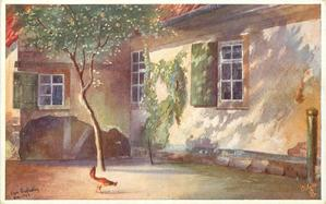 building with green window shutters, chicken  under blossom tree in foreground