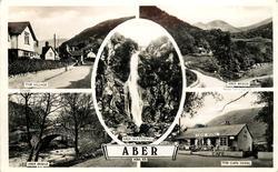 5 insets THE VILLAGE/ABER BRIDGE/ABER WATERFALL/ABER BRIDGE/THE CAFE ROYAL