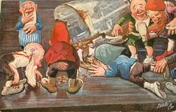 six dwarves scramble to lap up spilt beer from tankard