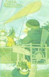 Santa piloting airship carrying presents, tree, two girls sit front