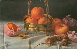 three oranges in brass dish, another beside, two apples right, string of figs front right