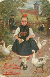 """DIE KIRCHE IST AUS""  girl walks front between three geese, man & two girls in front of church back"