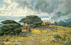 BROCKEN-1142M.U.D.M.  rocks left, one person sits on stones, another stands