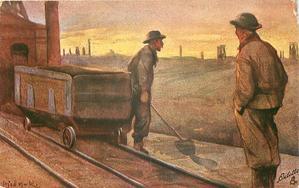 DAS BERGWERK 5.BILD  two men stand looking away, rail car left