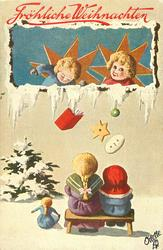 two angelpuppets drop book, star & oval button to two children below