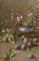 blue plums on table, sweet peas in purple vase behind