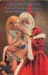CHRISTMAS GREETINGS  Santa helps girl play trumpet