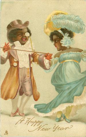 two couple in evening dress, he wears a brown coat, she wears a pale blue dress & ostrich feather in her hat
