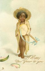 black child with banjo, melon slices on ground