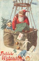 Santa throws toys from basket of flying balloon