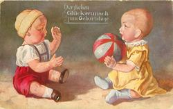 personised boy & girl dolls sit facing one another throwing ball between them