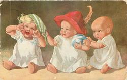 three personised baby dolls sit in a line, left doll faces front, looks up crying, others look left, centre doll wears red hat with feather