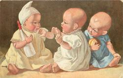 three personised baby dolls, left doll holds bottle & keeps it away from centre doll, doll on right holds ball & observes