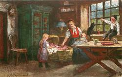 MUTTERS HILFE  girl helps mother tend to baby, boy sits in window playing with cat