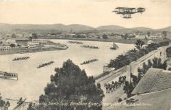 ROWING, NORTH QUAY, BRISBANE RIVER  pioneer aircraft above