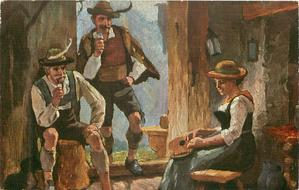 girl sits playing instrument, two men smoke pipe listening, one sitting, the other standing in doorway