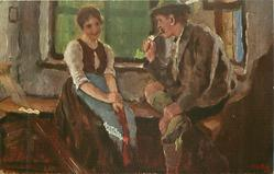 cottage scene, man smoking pipe sits admiring pretty girl seated left